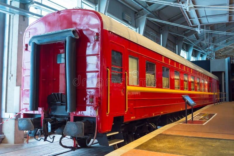 Vintage retro vintage cars locomotives of times of the USSR. Russia, Saint-Petersburg. Museum Railways of Russia December 21, 2017 stock image