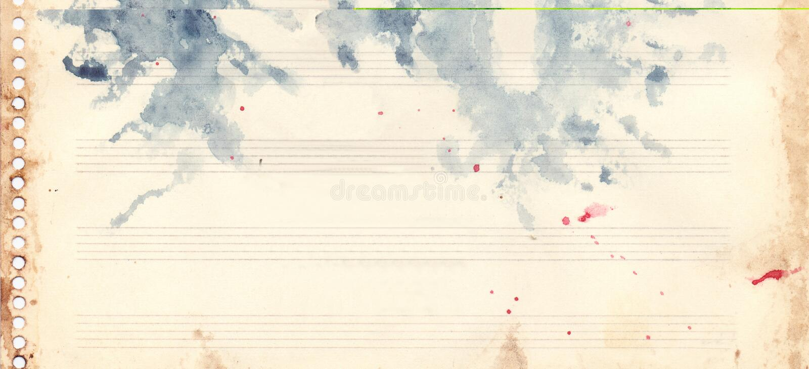 Vintage retro watercolor music sheet background texture grunge royalty free illustration