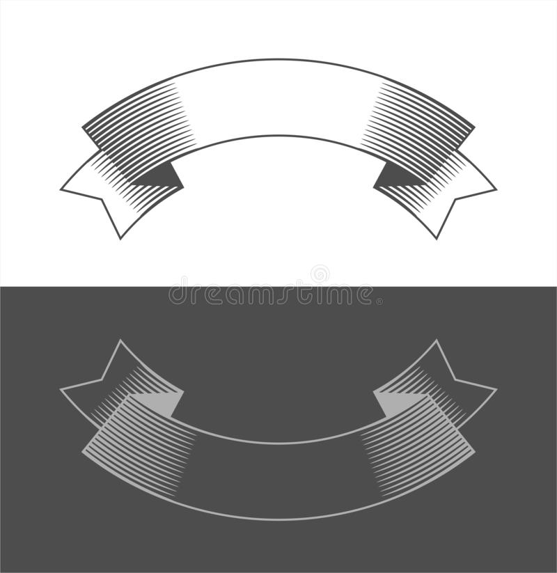 Vintage ribbon banners and drawing in engraving style. Blank template for your text. Hand drawn design element. Vector stock illustration