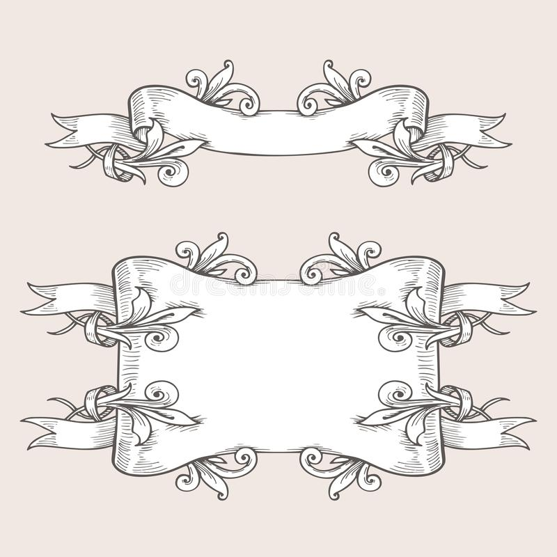 Vintage ribbon banners and drawing in engraving style. Hand drawn design element. Vector Illustration vector illustration