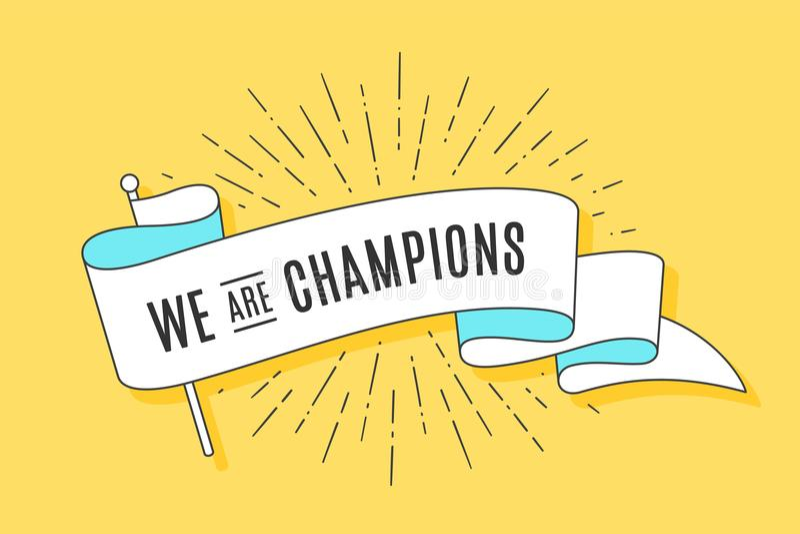 Vintage ribbon flag We are Champions vector illustration