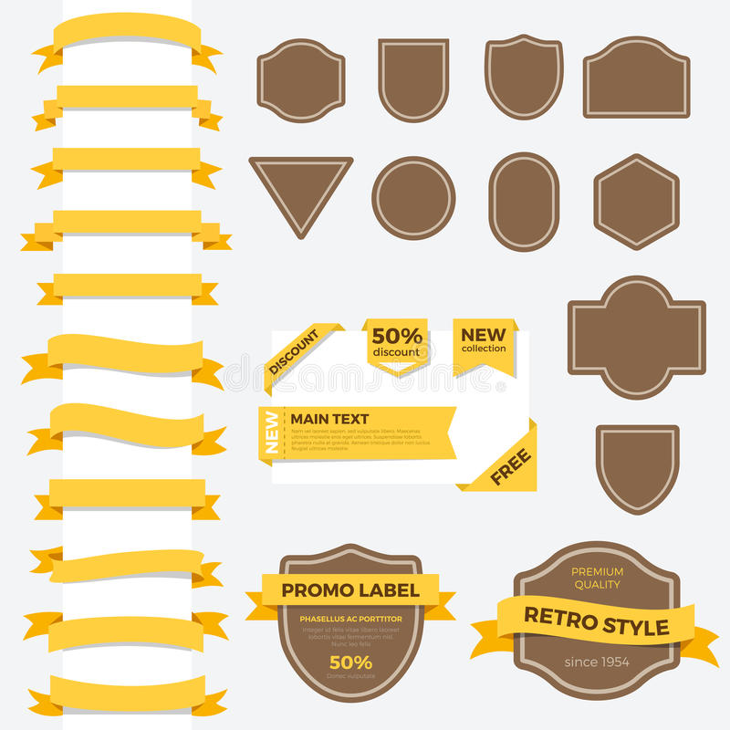 Vintage ribbon labels frames Infographics text vector illustration