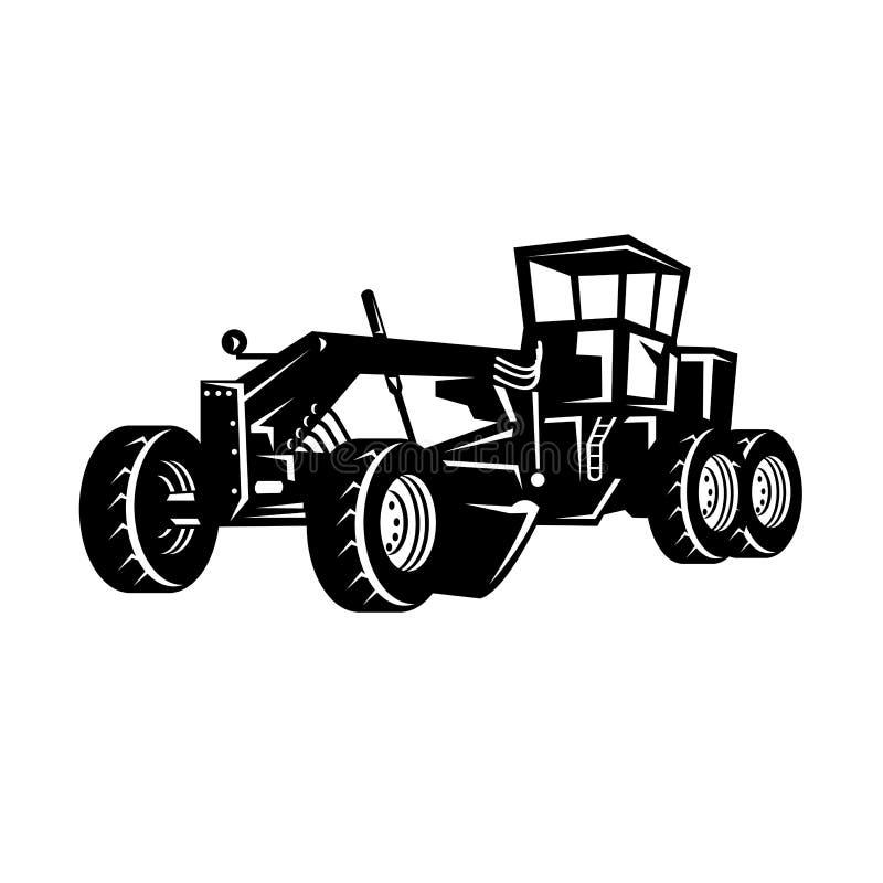 Free Vintage Road Grader Motor Grader Or Blade Grading Retro Woodcut Black And White Royalty Free Stock Photography - 192847877