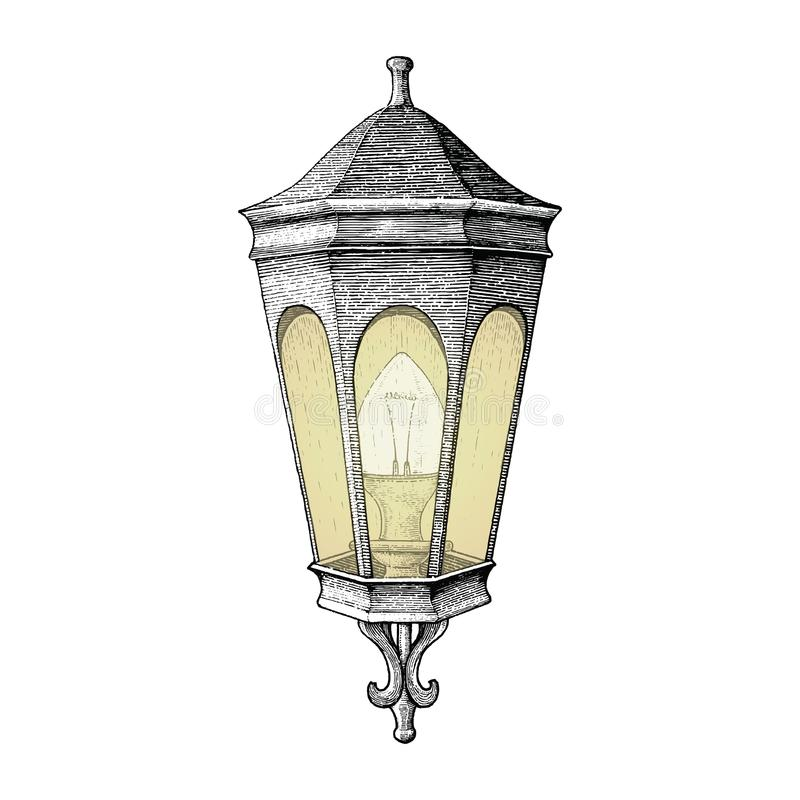 Vintage road lamp hand drawing engraving style. Isolated on white background vector illustration