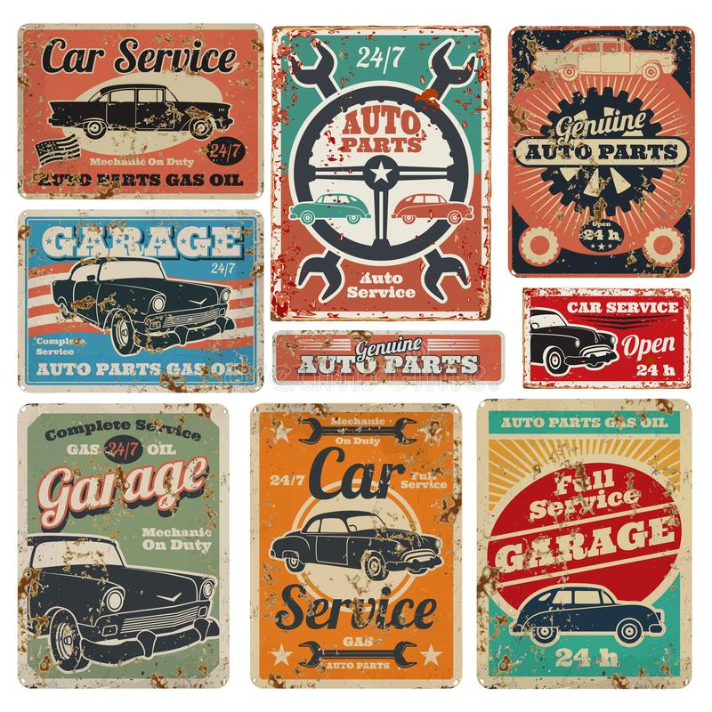 Vintage road vehicle repair service, garage and car mechanic advertising vector metal signs royalty free illustration