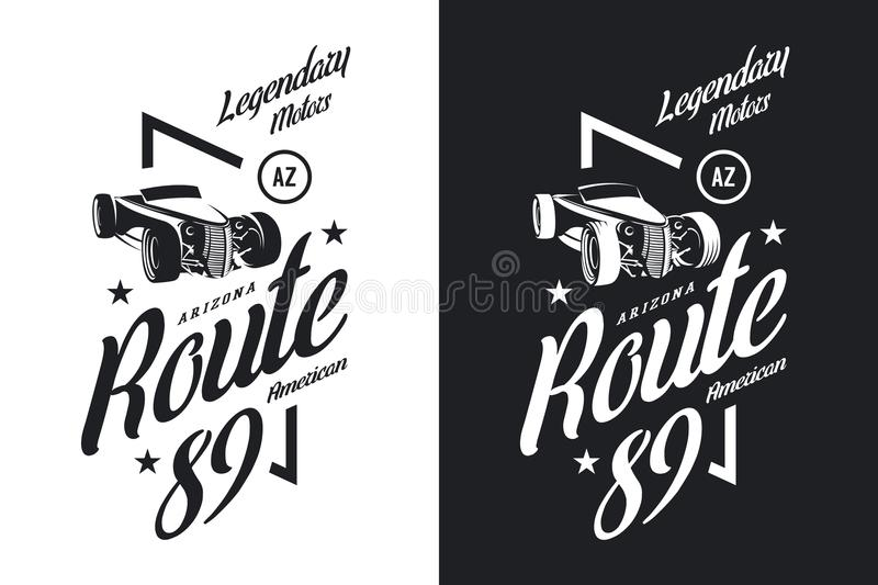 Vintage roadster car black and white isolated vector logo. royalty free illustration