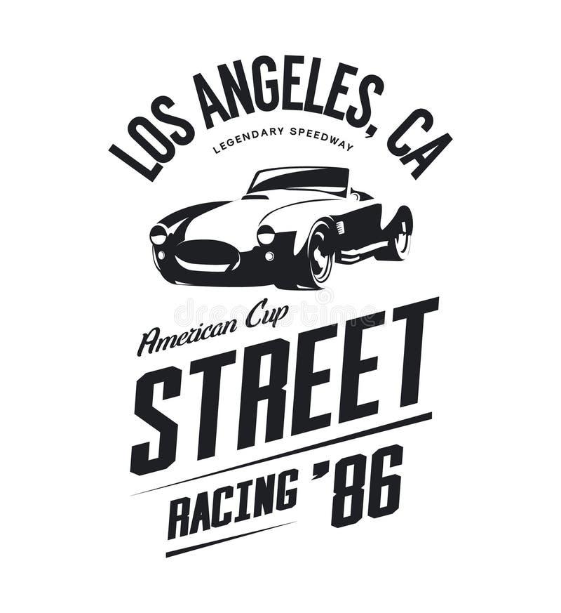 Vintage roadster car vector logo isolated on white background. stock illustration