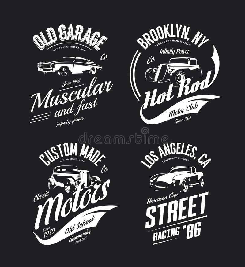 Free Vintage Roadster, Custom Hot Rod And Muscle Car Vector Tee-shirt Logo Isolated Set. Stock Photos - 111119043