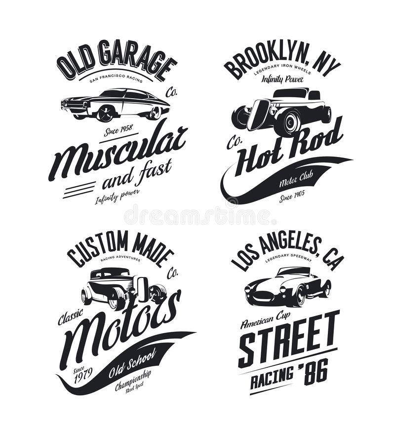 Vintage roadster, custom hot rod and muscle car vector tee-shirt logo isolated set. Premium quality old sport vehicle logotype t-shirt emblem illustration stock illustration