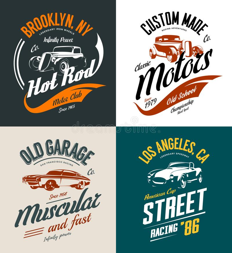 Vintage roadster, custom hot rod and muscle car vector tee-shirt logo isolated set. royalty free illustration
