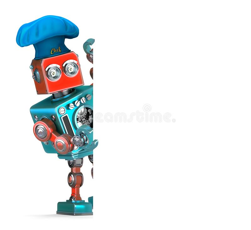 Vintage Robot Chef holding white banner. 3D illustration. Isolated. Contains clipping path stock illustration