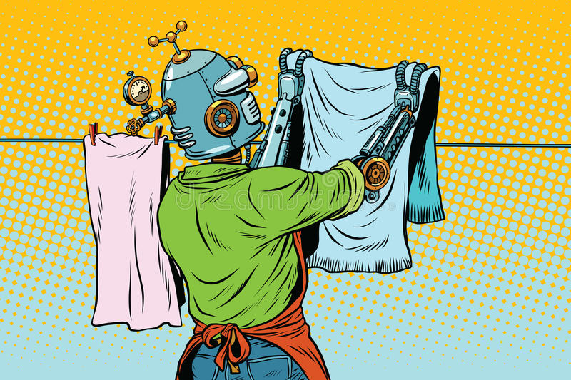 Vintage robot employee hangs up to dry clothes vector illustration