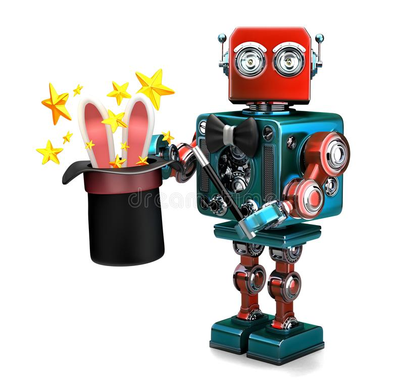 Vintage Robot showing tricks with magic hat. 3D illustration. Isolated. Contains clipping path vector illustration