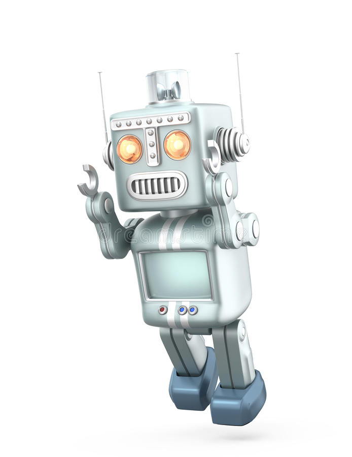 Vintage robot trying to fly. Isolated on white background stock illustration