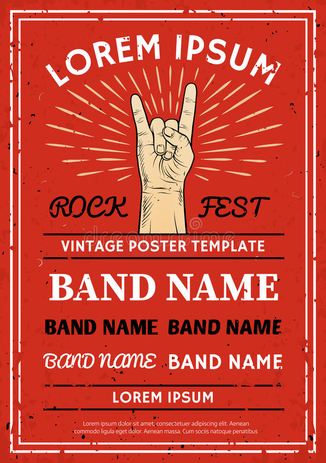 Vintage Rock festival poster, flyer with Rock and Roll hand sign. Vector illustration stock illustration