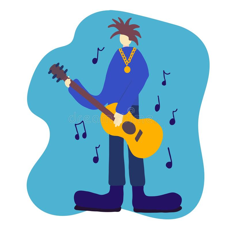 Vintage rock musician with guitar, great design for any purposes. Music background. Rock guitar poster. Guitarist, a young punk in royalty free illustration