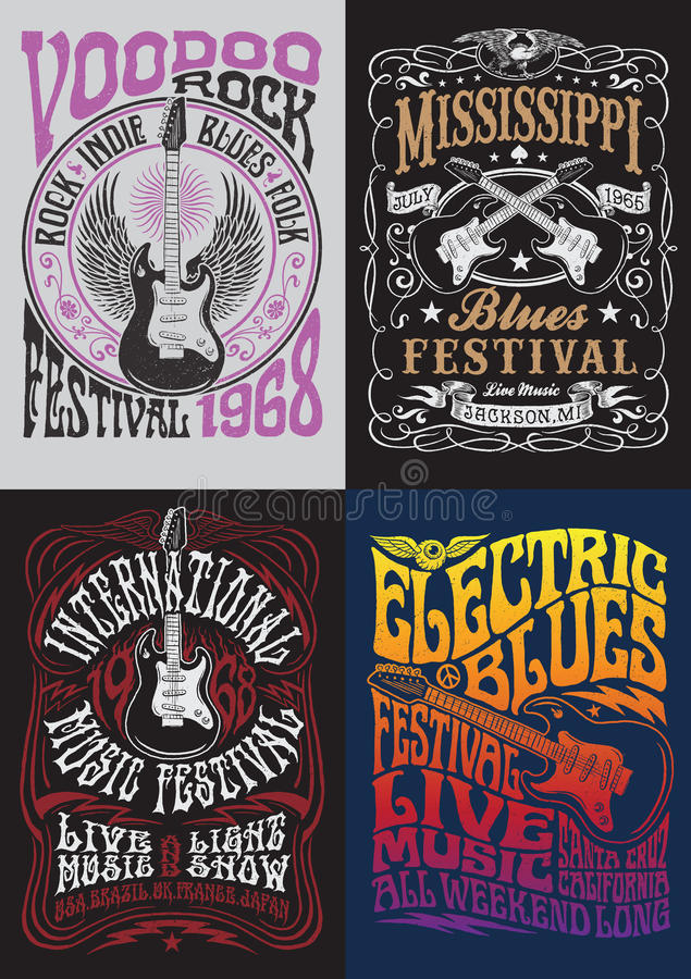 Free Vintage Rock Poster T-shirt Design Set Stock Photo - 47977540