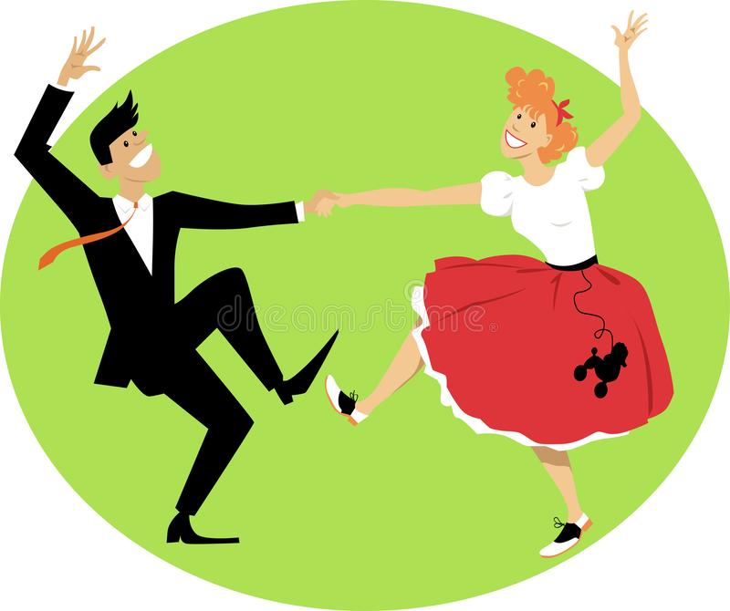 Vintage rock and roll. Couple dressed in vintage closes, dancing rock and roll, EPS 8 vector illustration royalty free illustration