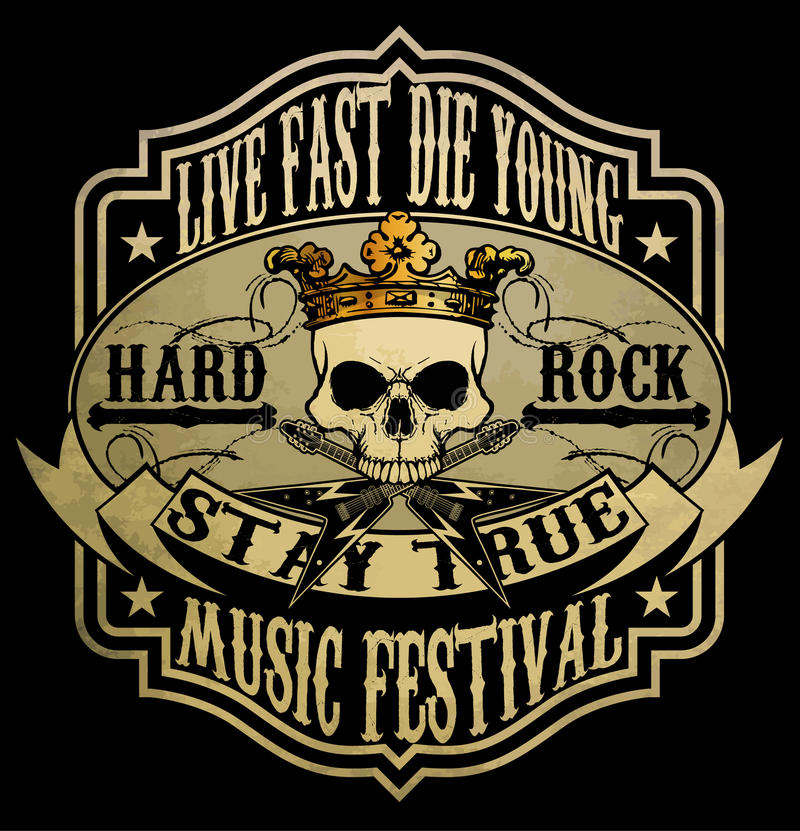 Vintage rock and roll typographic for t-shirt; tee design; poster; vector illustration. Fashion style vector illustration