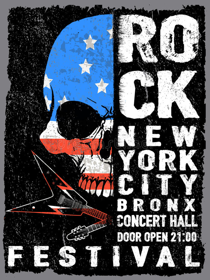 Vintage rock and roll typographic for t-shirt; tee design; poster; vector illustration. Fashion style stock illustration