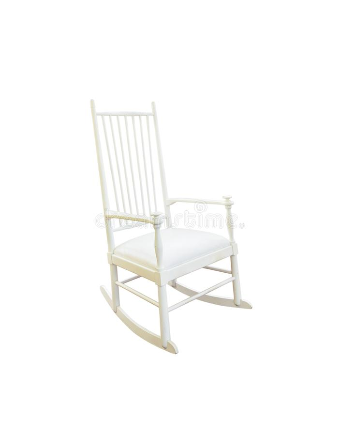 Vintage rocking chair isolated on white royalty free stock image