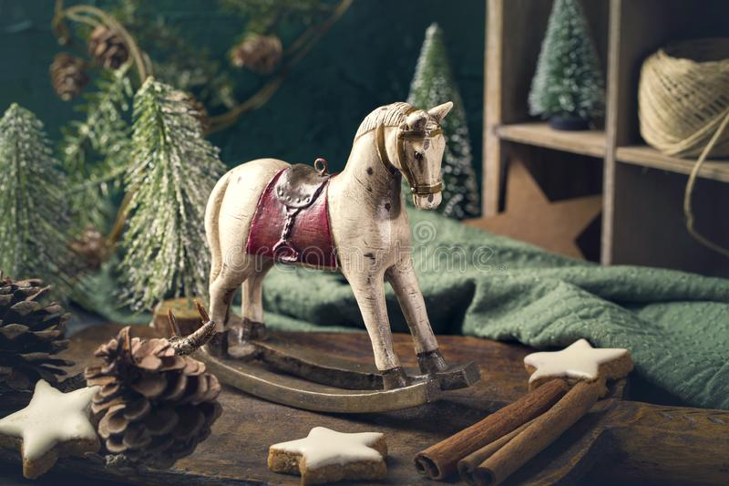 Vintage rocking horse. Christmas decoration royalty free stock image