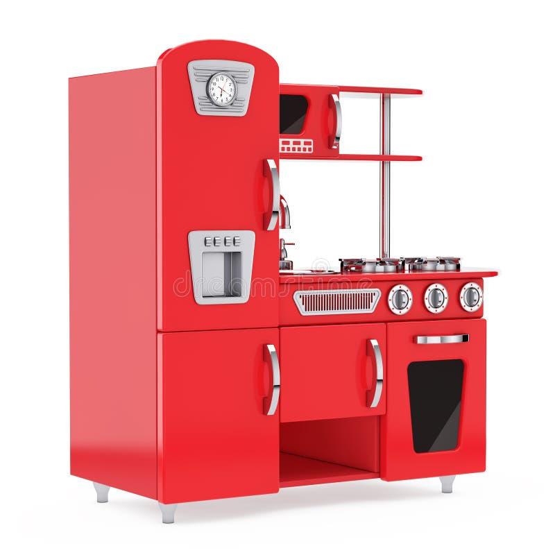 Vintage rojo Toy Kitchen representación 3d ilustración del vector