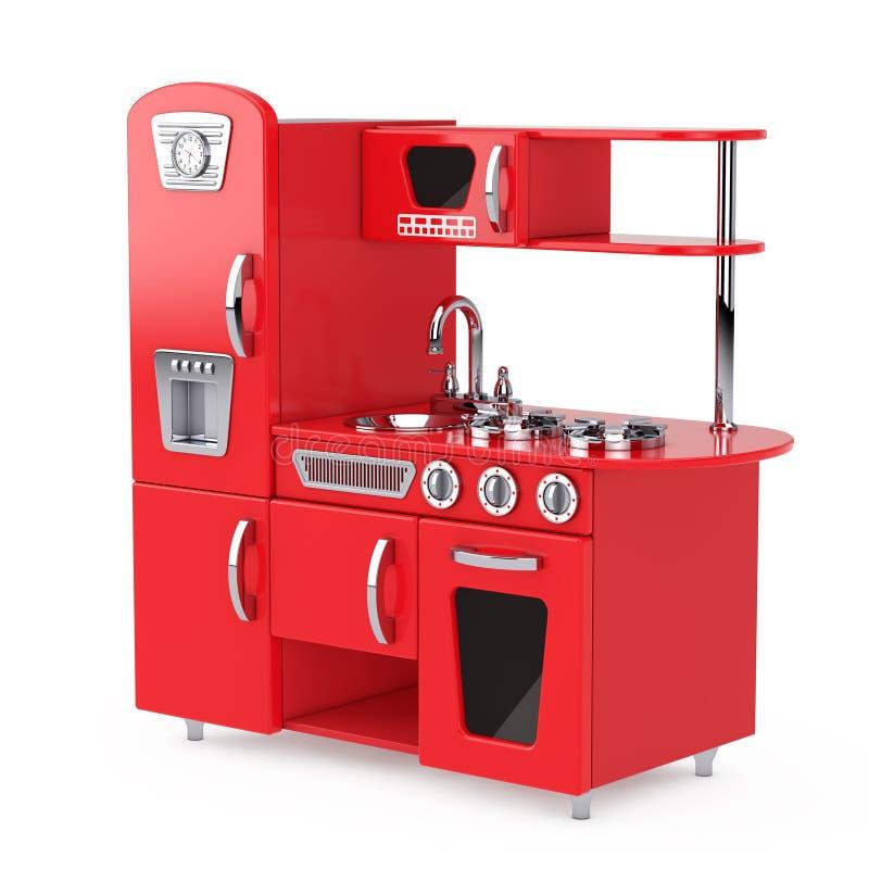 Vintage rojo Toy Kitchen representación 3d stock de ilustración