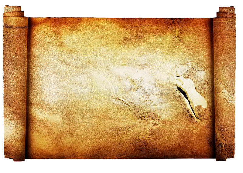 Vintage roll of parchment background isolated on w royalty free stock photo
