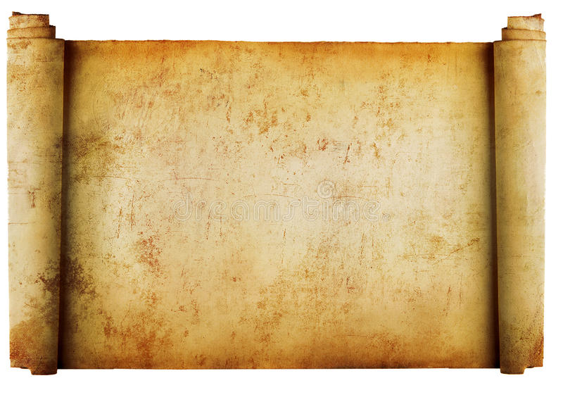 Vintage roll of parchment background isolated on w stock photography