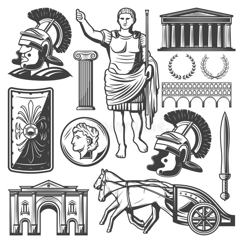 Vintage Roman Empire Elements Set Stock Vector - Illustration of ...