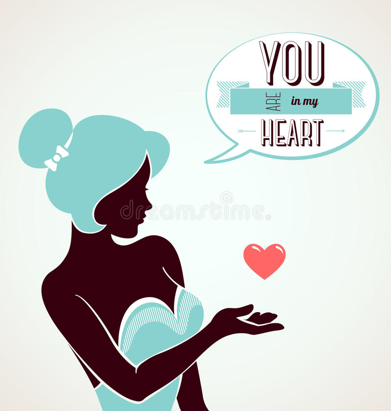 Vintage romantic card. Happy Valentine's day. Vector illustration. Beautiful woman portrait. Blue and brown colors. You are in my heart vector illustration
