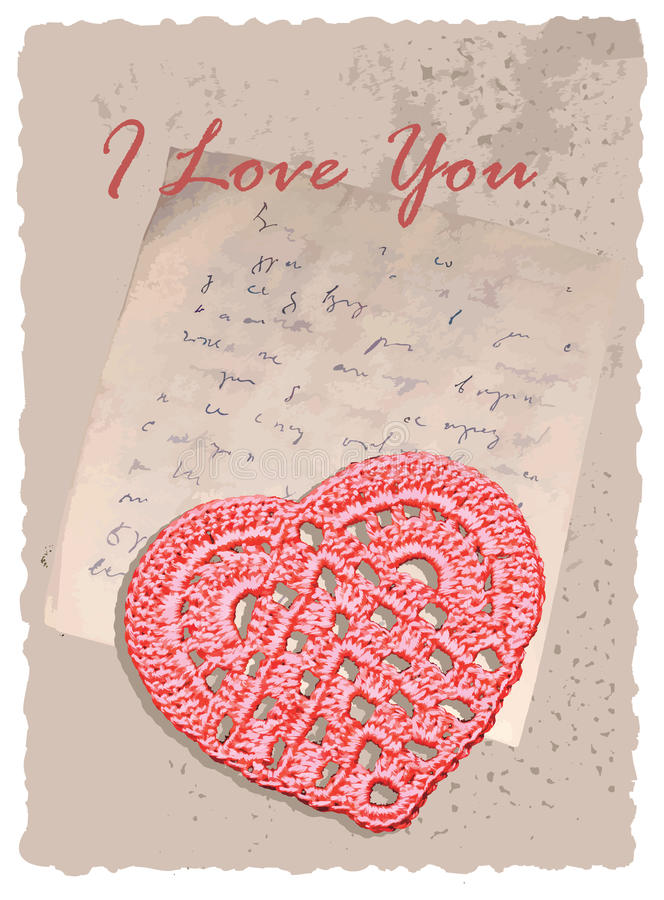 Vintage Romantic Card With Heart Stock Photos