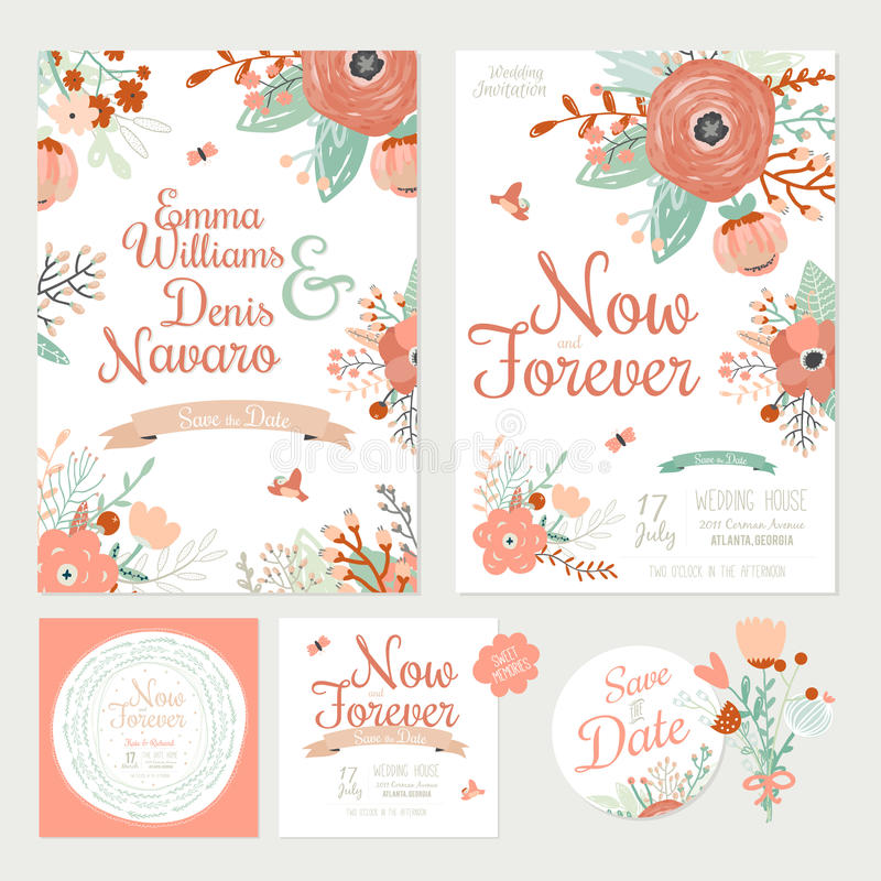 Vintage romantic floral save the date invitation stock vector download vintage romantic floral save the date invitation stock vector illustration of label holiday stopboris Images