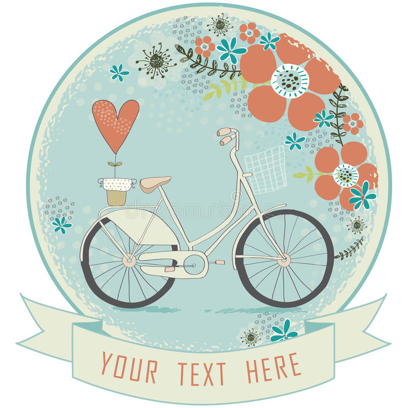 Vintage romantic love card.Love label.Retro bicycle with flowers and red heart in pastel colors stock illustration