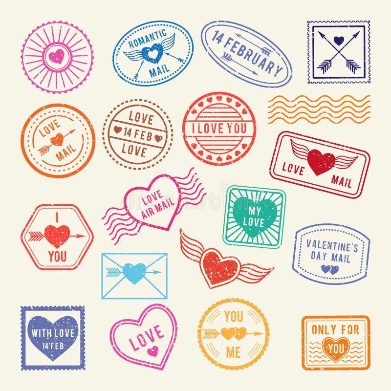 Vintage romantic postal stamps. Vector love elements for scrapbook or letters design stock illustration