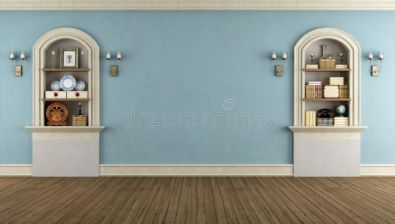 Vintage room with arched niche. Room in classic style with arched niches with vintage objects - rendering vector illustration