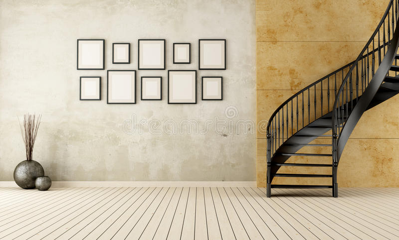 Vintage room with circular staircase. Vintage room with black circular staircase - rendering vector illustration