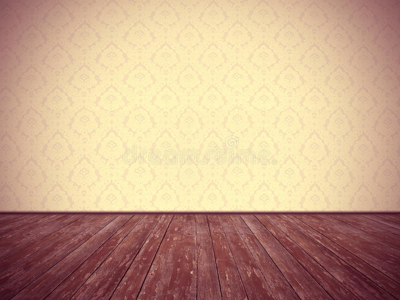 Download Vintage Room Design: Floral Wallpaper And Weathered Wooden Floor Stock Illustration - Image: 36681981