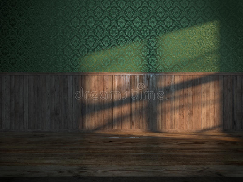 Vintage room with green silk. And wood panels at sunset vector illustration
