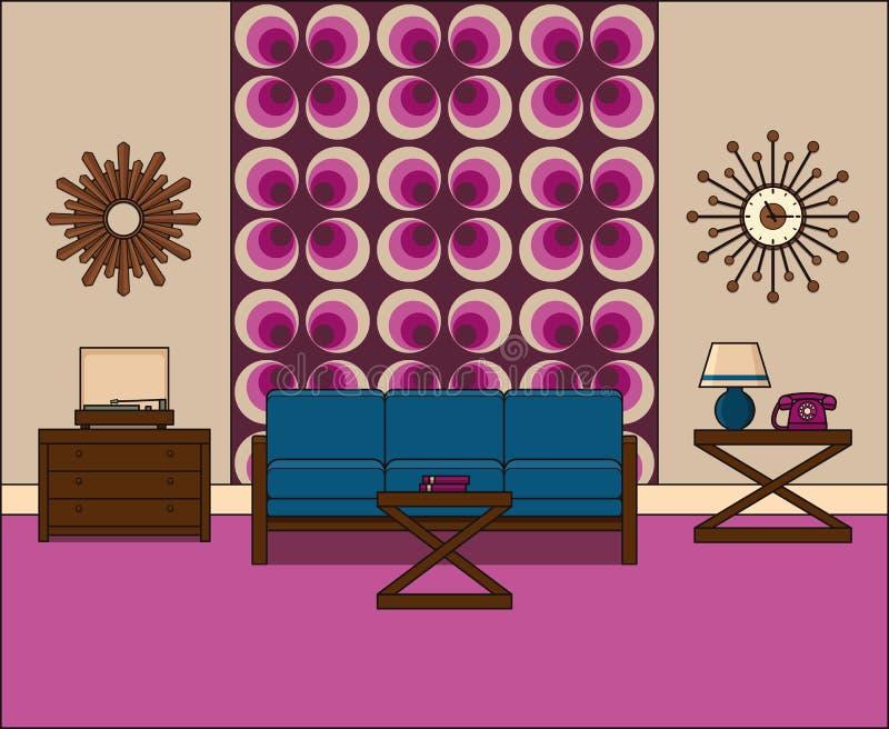 Vintage Room Interior In Line Art. Linear Vector Illustration. Stock ...