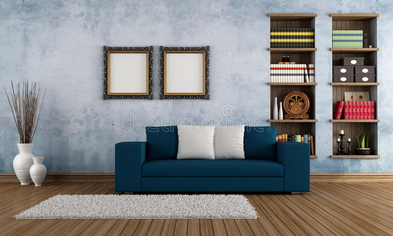 Vintage Room With Modern Couch Royalty Free Stock Image