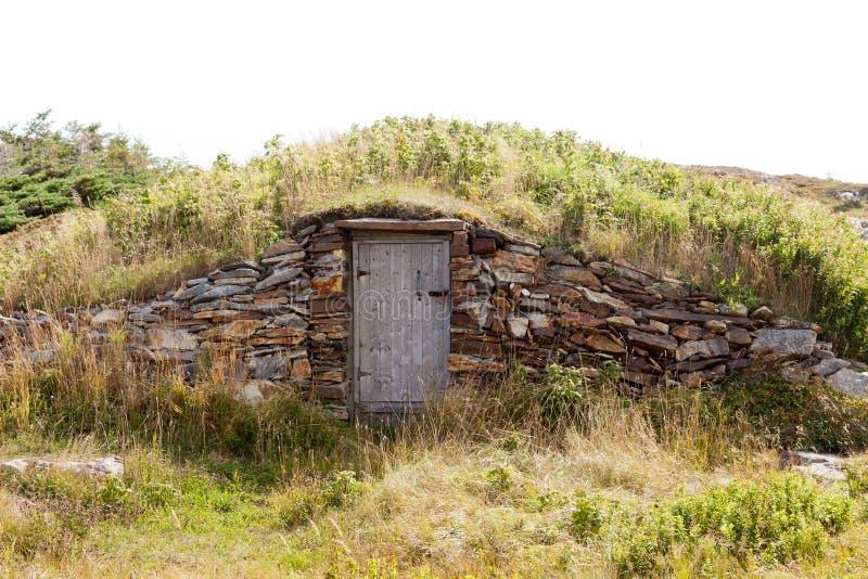 Vintage root cellar storage Elliston NL Canada royalty free stock image