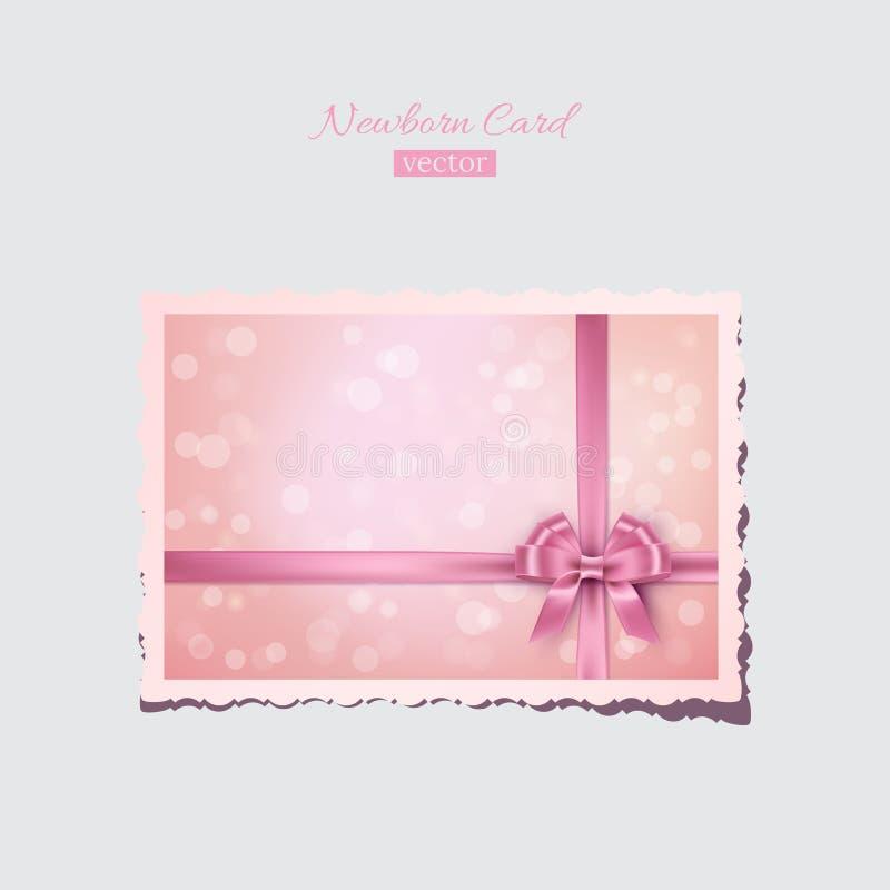 Vintage rosado recién nacido o tarjeta de la tarjeta del día de San Valentín Postal recién nacida del saludo retro del vector stock de ilustración