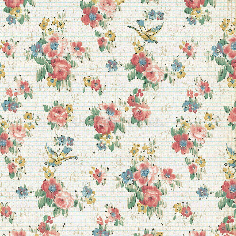 Vintage Rose Floral Wallpaper Shabby Chic royalty free stock photo