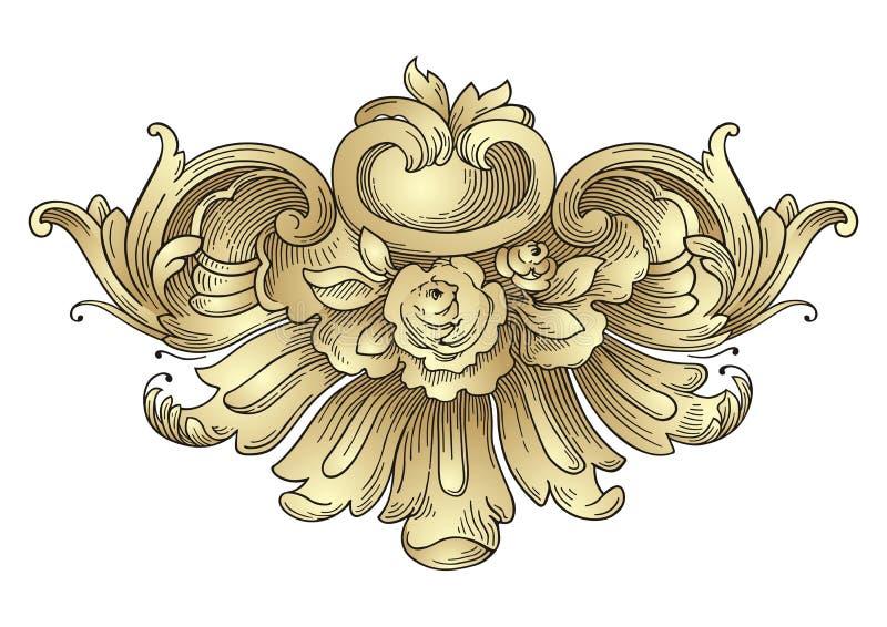 Vintage Rose Frame Ornament stock illustration