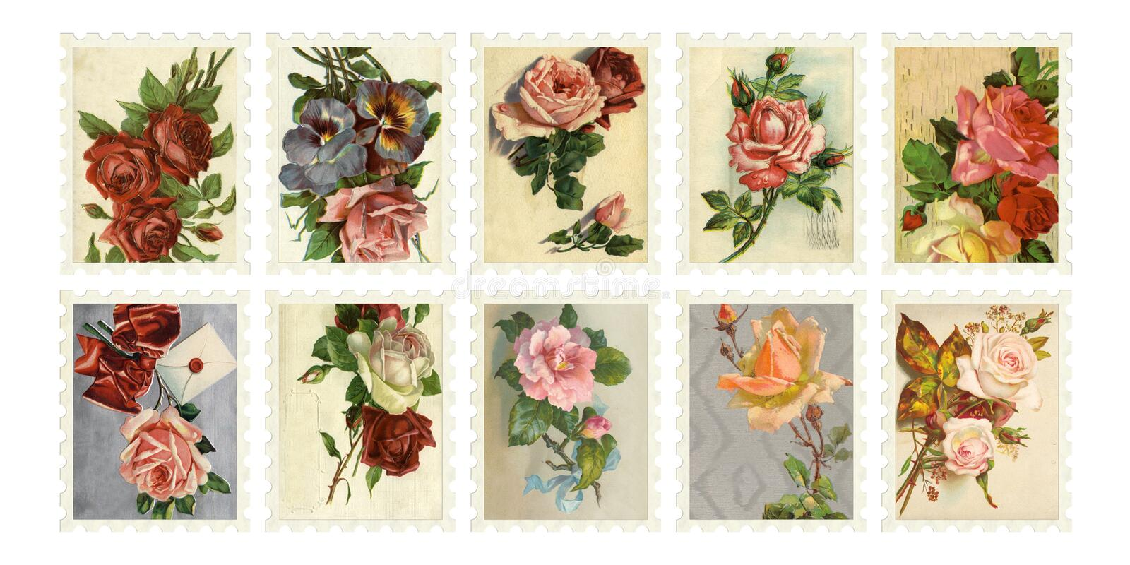 Vintage Rose Stamps royalty free stock image