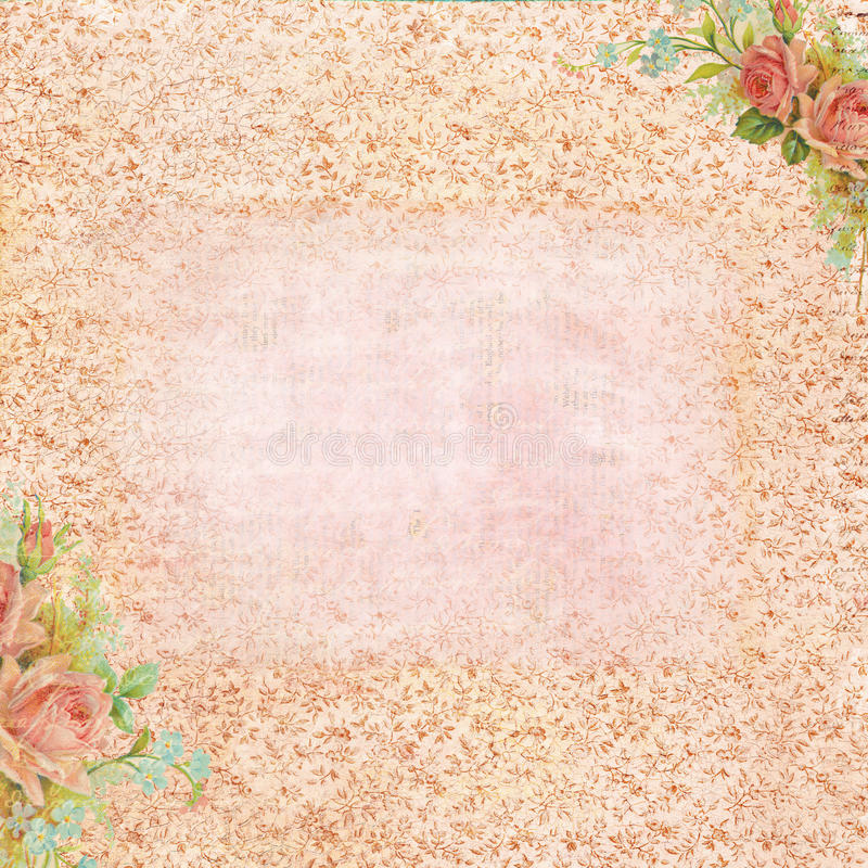 Vintage rose stationary with blank area for text stock illustration