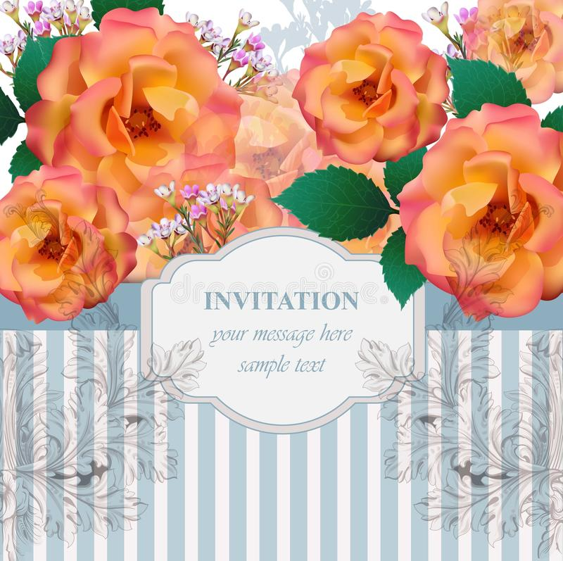 Vintage roses flowers card Vector background. Romantic illustration for invitation and greeting card designs stock illustration