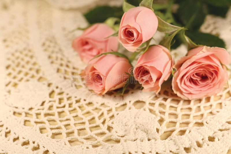 Vintage roses on a lace napkin and old paper royalty free stock image